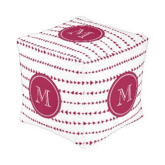 Berry Red White Aztec Arrows Monogram Pouf