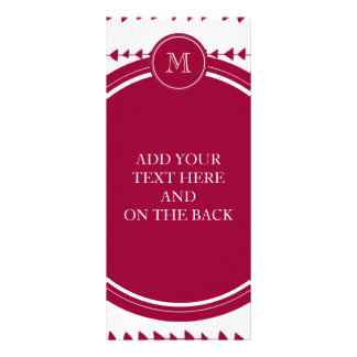 Berry Red White Aztec Arrows Monogram Rack Card