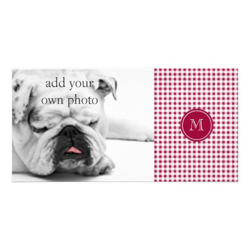 Berry Red White Gingham, Your Monogram Personalized Photo Card