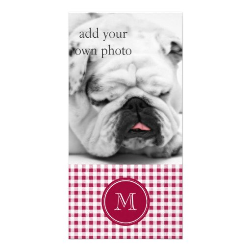 Berry Red White Gingham, Your Monogram Custom Photo Card