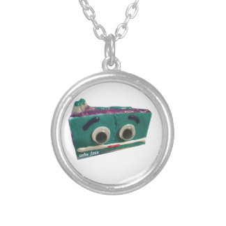 berry sweet cake face with logo silver plated necklace