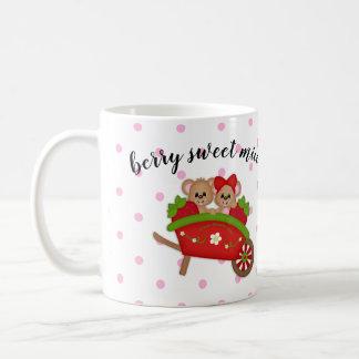 Berry Sweet Mice Strawberry Wheel Barrel Dot Mug