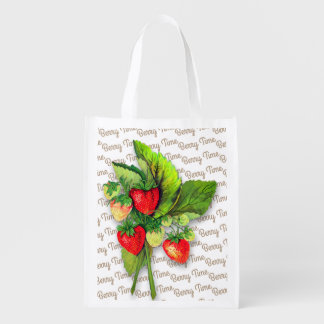 """Berry Time"" VIntage Strawberry Image Reusable Grocery Bag"