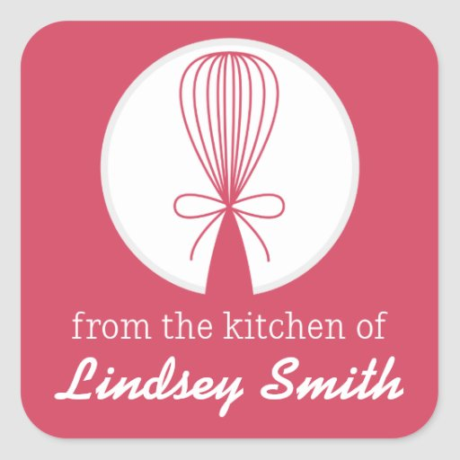 Berry Whisk Silhouette Kitchen Labels Square Sticker