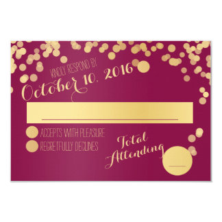 Berry Wine and Gold RSVP 9 Cm X 13 Cm Invitation Card
