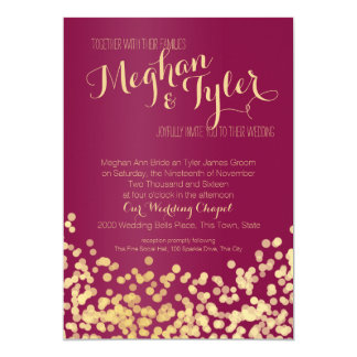 Berry Wine and Gold Sparkle Wedding 13 Cm X 18 Cm Invitation Card