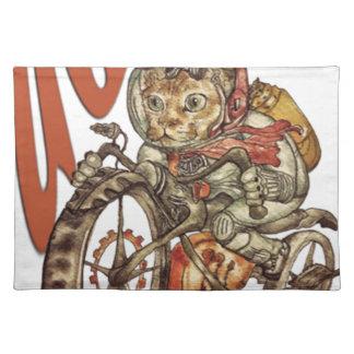 Berserk Steampunk Motorcycle Cat Go Wild T-Shirt.p Placemat