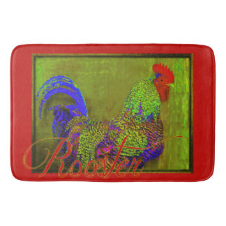Bert the Rooster Red Bath Mat Retro Art