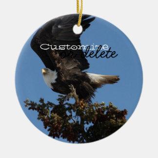 BERTF Bald Eagle Ready to Flee Ceramic Ornament