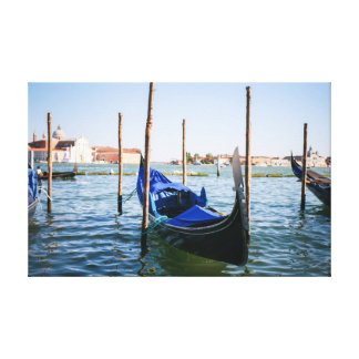 Berth in Venice Blue Stretched Canvas Prints