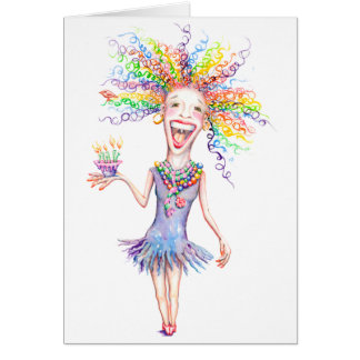 "Bertha the Birthday Broad - Note Card - 4"" x 5.6"""