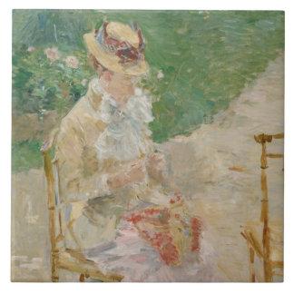 Berthe Morisot - Young Woman Knitting Ceramic Tile