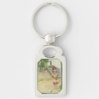 Beside  the Cellar Silver-Colored Rectangle Key Ring