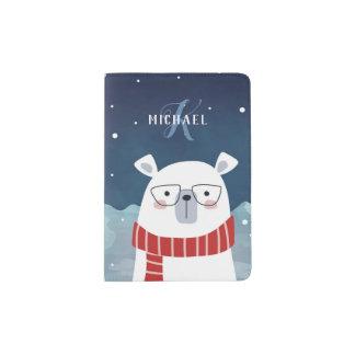 Bespectacled Polar Bear | Monogram Passport Holder