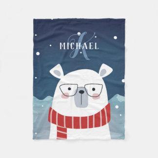 Bespectacled Polar Bear | Monogrammed Fleece Blanket