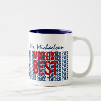 Best 2nd Grade Teacher Add Name Blue Red B31 Two-Tone Coffee Mug
