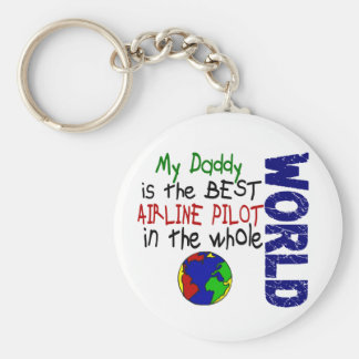 Best Airline Pilot In World 2 (Daddy) Basic Round Button Key Ring