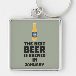 Best Beer is brewed in January Zxe8k Silver-Colored Square Key Ring