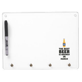 Best Beer is brewed in March Zp9fl Dry Erase Board With Key Ring Holder