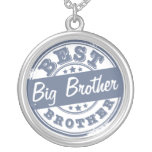 Best Big Brother - rubber stamp effect - Round Pendant Necklace