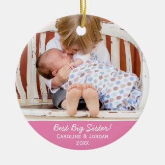 Best Big Sister New Baby Custom Christmas Photo Round Ceramic Decoration