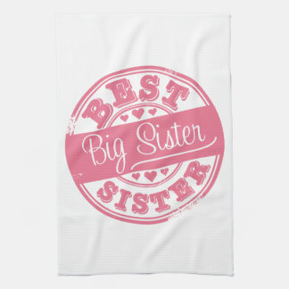 Best Big Sister -rubber stamp- Hand Towels