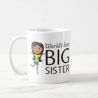 Best big sister with happy cartoon girl cup