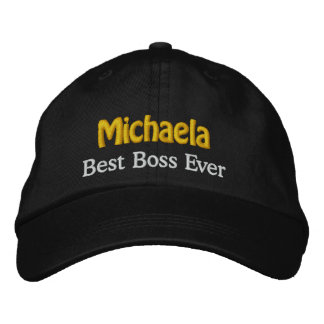 Best Boss Custom Name BROWN WHITE GOLD Thread Embroidered Hat