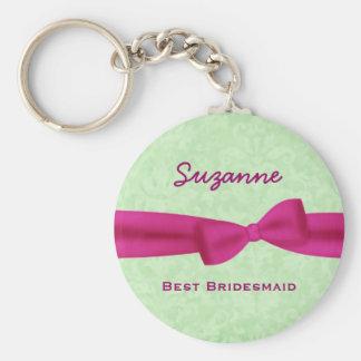 Best Bridesmaid Custom Name Printed Bow Gift V02 Basic Round Button Key Ring