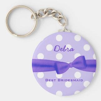 Best Bridesmaid Custom Name Printed Bow Gift V48 Basic Round Button Key Ring