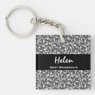 Best Bridesmaid Silver Swirls Gift Collection Double-Sided Square Acrylic Key Ring