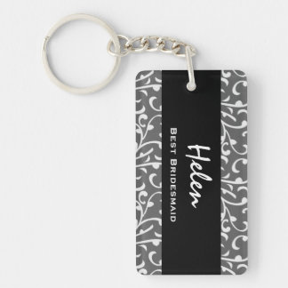 Best Bridesmaid Silver Swirls Gift Collection Single-Sided Rectangular Acrylic Key Ring