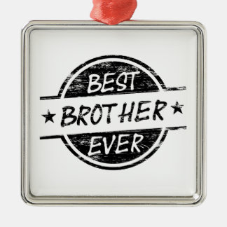 Best Brother Ever Black Silver-Colored Square Decoration