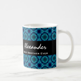 Best BROTHER Ever Blue and Green Mosaic Tile Basic White Mug