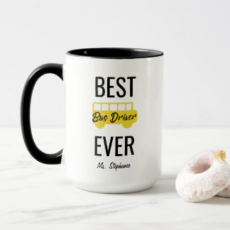 Best Bus Driver Ever Personalized Yellow Black Mug