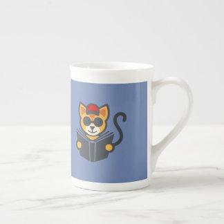 Best Cat Cartoon Characters - Cat's Reading A Book Tea Cup