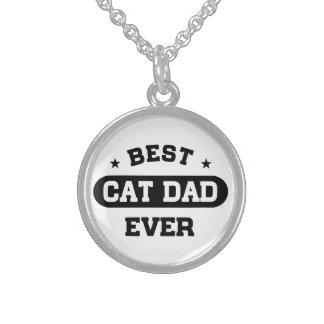 Best Cat Dad Ever Sterling Silver Necklace
