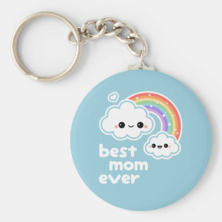 Best Cloud Mom Basic Round Button Key Ring