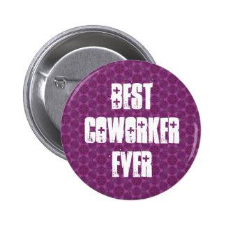 Best Coworker Ever Modern Purple Stars Design 6 Cm Round Badge