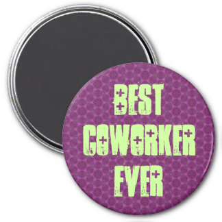Best Coworker Ever Modern Purple Stars Design 7.5 Cm Round Magnet