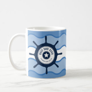 Best Dad Ever Blue Ships Wheel and Waves Coffee Mug