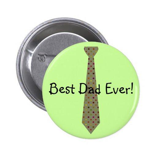 Best Dad Ever Dark Polka Dot Fake Tie Buttons