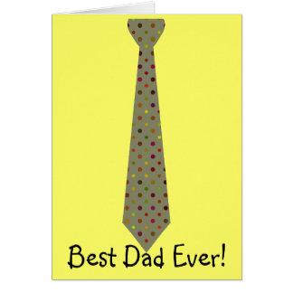 Best Dad Ever Dark Polka Dot Fake Tie Greeting Card