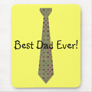 Best Dad Ever Dark Polka Dot Fake Tie Mouse Pad