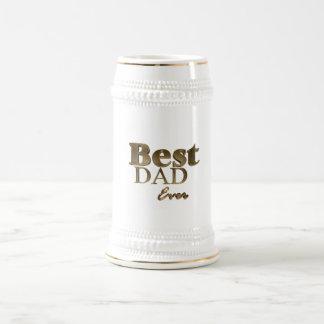Best Dad Ever Elegant Golden Text Gold Typography Beer Stein