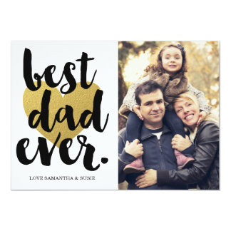 BEST DAD EVER | GOLDEN HEART FATHERS DAY CARD 13 CM X 18 CM INVITATION CARD
