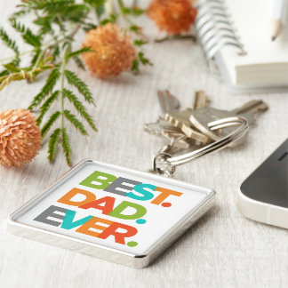 Best Dad Ever Silver-Colored Square Key Ring