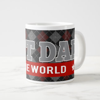 Best Dad in the World Argyle Patterned Large Coffee Mug