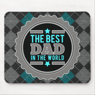 Best Dad in the World Argyle Patterned Mouse Pad