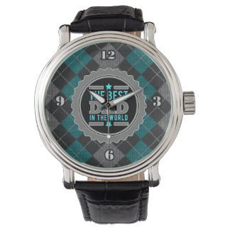 Best Dad in the World Argyle Patterned Watches